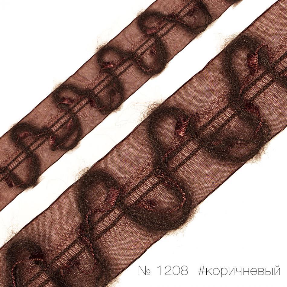 #1208 Тесьма декоративная.  Вышивка мохером по органзе_1