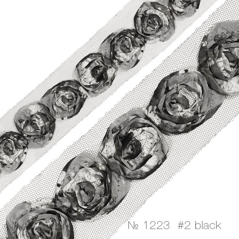 """#1223 Тесьма декоративная """"розочка средняя одинарная"""" на сетке"""