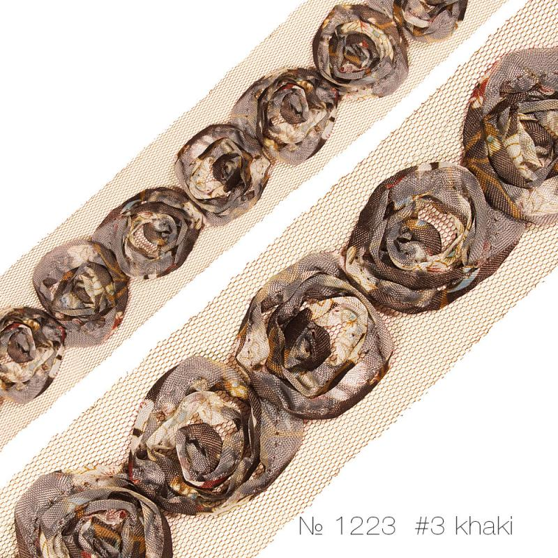 """#1223 Тесьма декоративная """"розочка средняя одинарная"""" на сетке_1"""